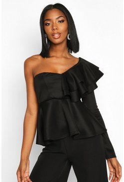 Black Ruffle One Shoulder Peplum Top