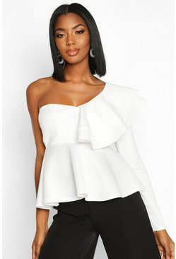 Ivory Ruffle One Shoulder Peplum Top