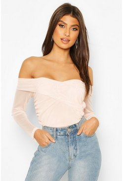 Ruched Mesh Off The Shoulder Wrap Bodysuit, Blush