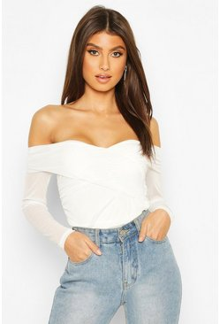 White Ruched Mesh Off The Shoulder Wrap Bodysuit