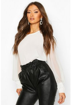 Sheer Sleeve Soft Blouse, White, FEMMES