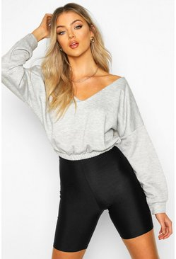 V Neck Crop Sweater, Grey marl