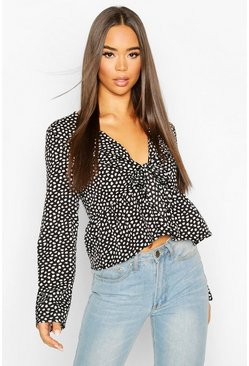Black Smudge Print Tie Front Wide Sleeve Top