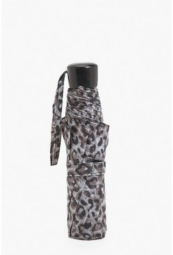 Womens Wind Resistant Leopard Print Umbrella