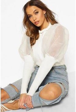 White High Frill Neck Jumper With Organza Puff Sleeve