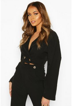 Extreme Puff Sleeve Woven Crop Jacket, Black