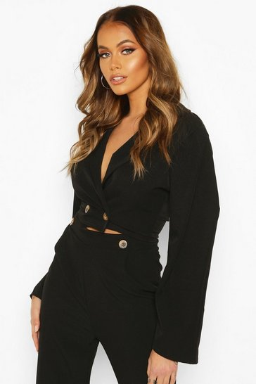 Black Extreme Puff Sleeve Woven Crop Jacket