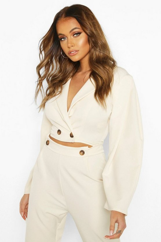 Ecru Extreme Puff Sleeve Woven Crop Jacket