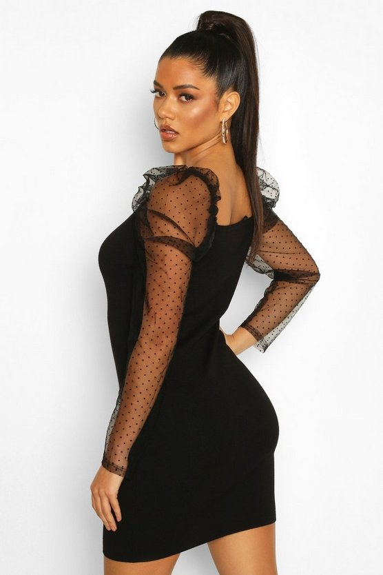 Knitted Polka Puff Sleeve Mesh Bodycon
