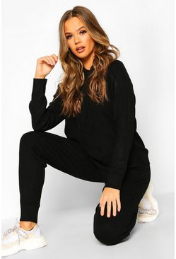 Womens Black Knitted Hooded Lounge Set