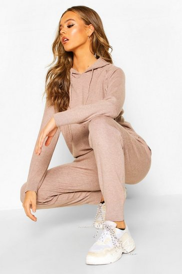 Womens Taupe Knitted Hooded Lounge Set