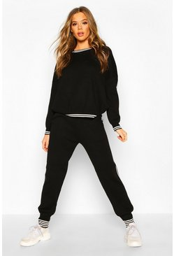Womens Black Sports Stripe Knitted Set