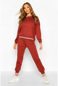 Sports Stripe Knitted Set, Tobacco, FEMMES