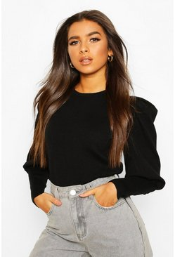 Rib Knit Balloon Sleeve Top, Black, DAMEN
