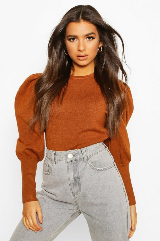 Rib Knit Balloon Sleeve Top