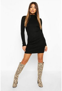 Black Roll Neck Knitted Mini Dress