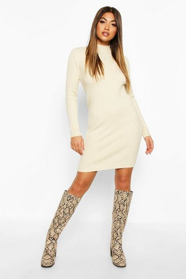 Womens Stone Roll Neck Knitted Mini Dress