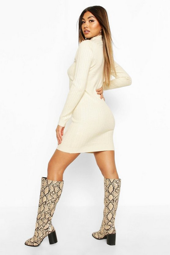 Roll Neck Knitted Mini Dress