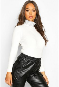 Diamante Embellished Roll Neck Top, Cream, DAMEN