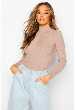 Rib Knit Turtle Neck Top, Chocolate, DAMEN