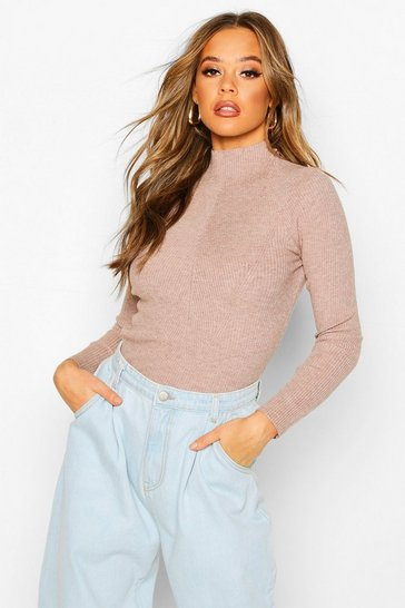 Chocolate Rib Knit Turtle Neck Top
