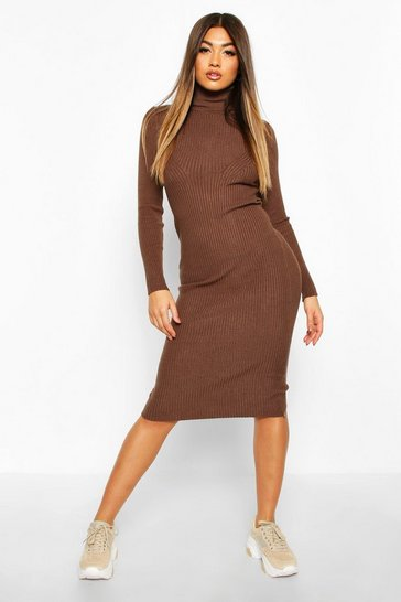 Womens Chocolate Roll Neck Midaxi Knitted Dress