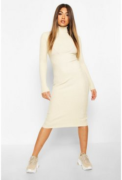 Roll Neck Midaxi Knitted Dress, Stone