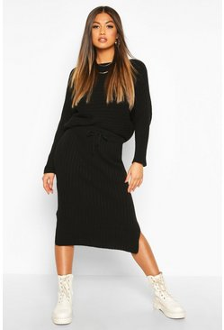 Black Knitted Oversized Jumper & Midi Skirt Co-ord