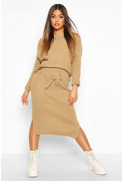 Camel Knitted Oversized Jumper & Midi Skirt Co-ord
