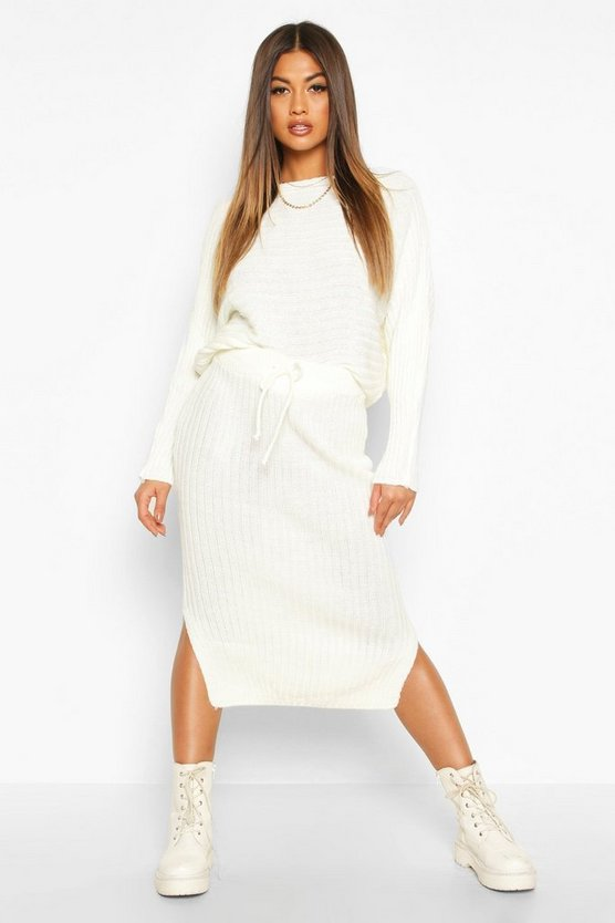 Knitted Oversized Jumper & Midi Skirt Co-ord