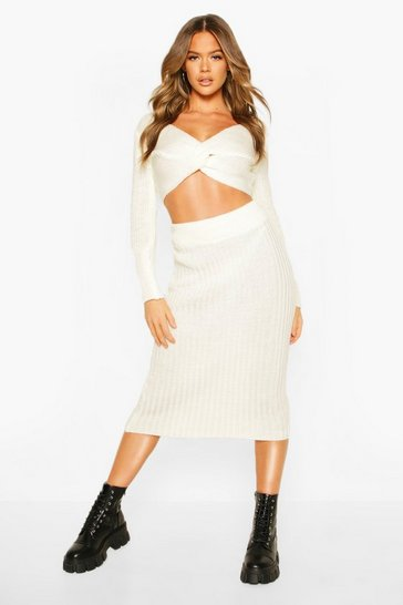 Cream Twist Front Crop & Midi Skirt Co-ord