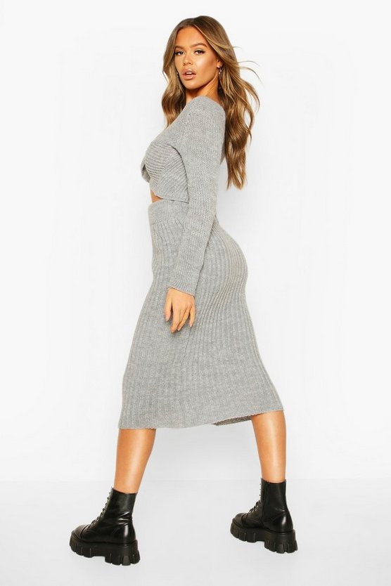 Twist Front Crop & Midi Skirt Co-ord