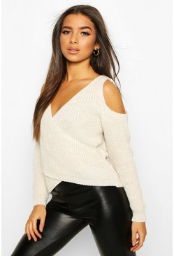 Cold Shoulder Wrap Front Knitted Jumper, Stone