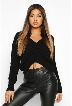 Black Ruched Front Knitted Jumper