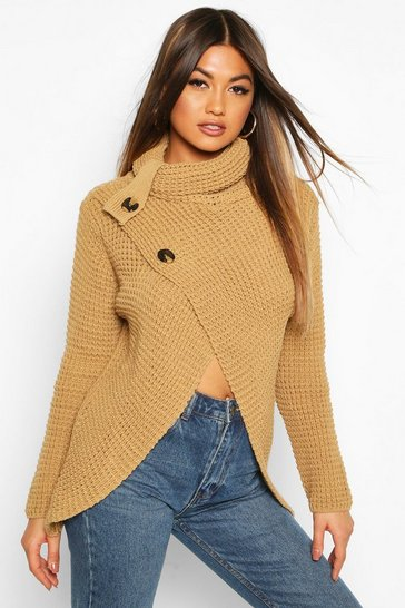 Camel Wrap Front Button Cardigan