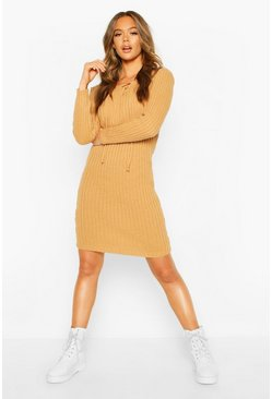 Camel Knitted Tie Front Midi Dress