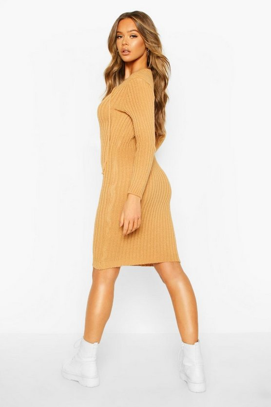 Knitted Tie Front Midi Dress