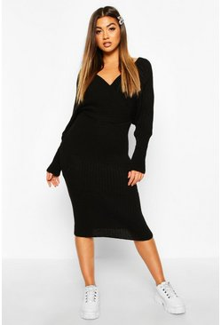 Wrap Front Batwing Knitted Midi Dress, Black