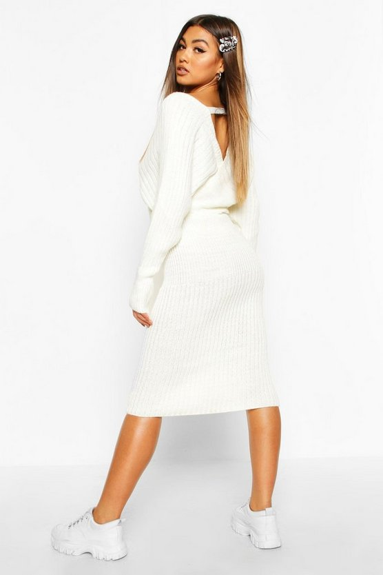 Wrap Front Batwing Knitted Midi Dress