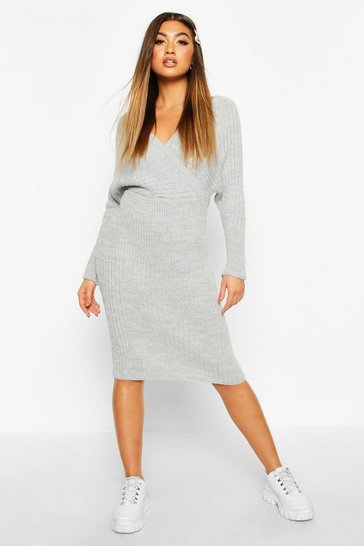 Grey Wrap Front Batwing Knitted Midi Dress