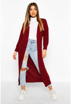 Berry Knitted Maxi Cardigan