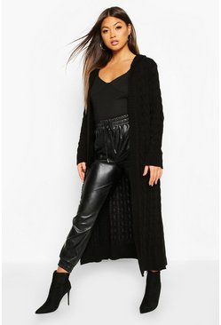 Black Cable Knit Hooded Maxi Cardigan