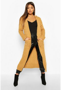 Cable Knit Hooded Maxi Cardigan, Camel