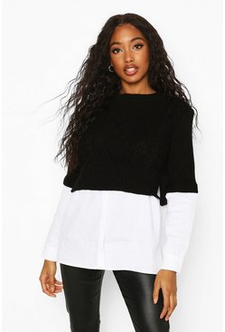 Cable Knit 2 In 1 Jumper & Shirt, Black