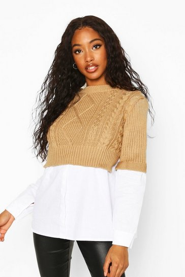 Camel Cable Knit 2 In 1 Jumper & Shirt