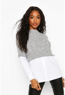 Grey Cable Knit 2 In 1 Jumper & Shirt