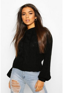 Black Cable Knit Balloon Sleeve Jumper