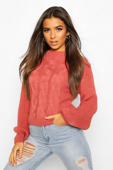 Blush Cable Knit Balloon Sleeve Jumper