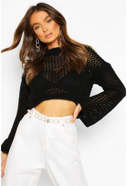 Loose Knit Flare Sleeve Cropped Jumper, Black