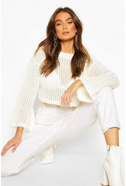 Ivory Loose Knit Flare Sleeve Cropped Jumper